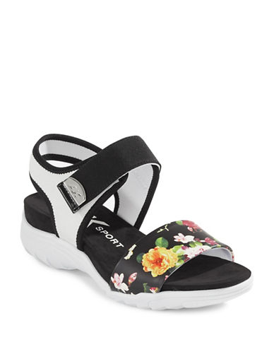 Anne Klein Floral Strap Sandals-WHITE-8
