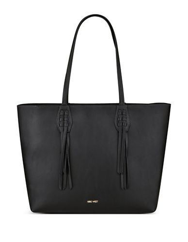 Nine West Canyon Fringe Trimmed Tote-BLACK-One Size