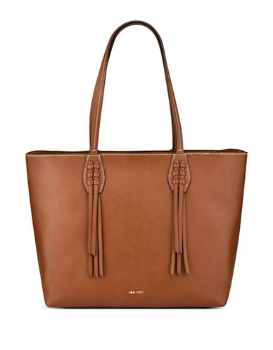 Nine West Canyon Fringe Trimmed Tote-BROWN-One Size