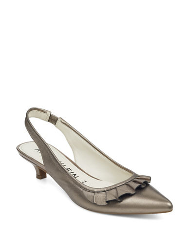 Anne Klein Elanore Point Toe Ruffle Slingback Pumps-GREY-6.5