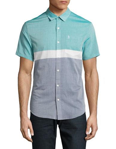 Original Penguin Heritage-Fit Colourblock Short Sleeve Shirt-BLUE-Large