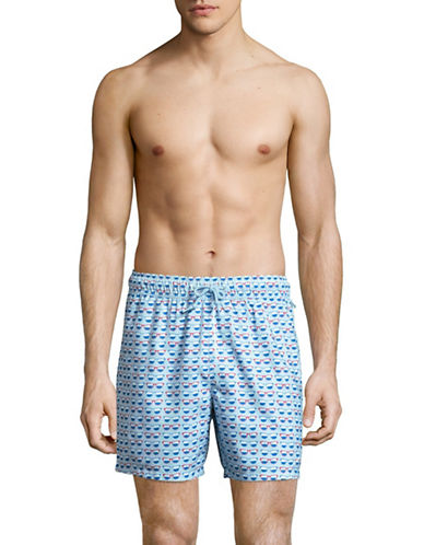 Original Penguin Reversible Swim Trunks-BLUE-Large