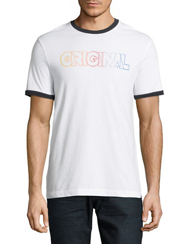 Original Penguin Rainbow Ombre Graphic T-Shirt-WHITE-Large