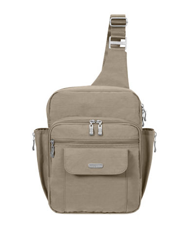Baggallini Water-Resistant Messenger Bag-BEIGE-One Size