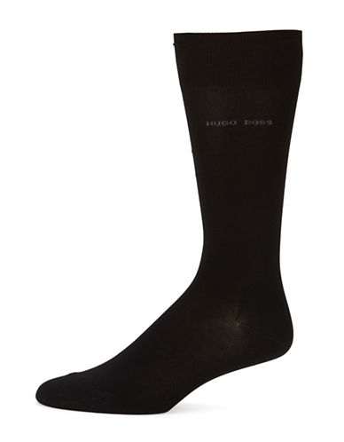 Boss Solid Dress Socks-BLACK-EU 41-46/US 8-13