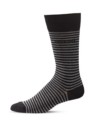 Boss Mens Brian Striped Combed Socks-BLACK-7-12
