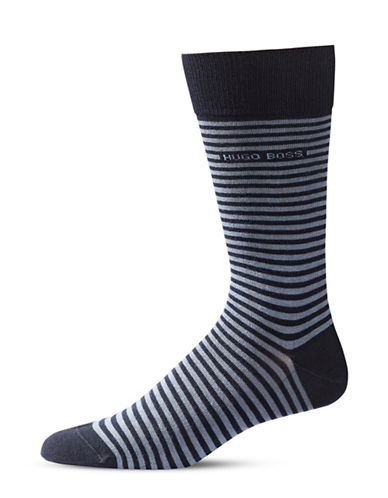 Boss Mens Brian Striped Combed Socks-DARK BLUE-7-12