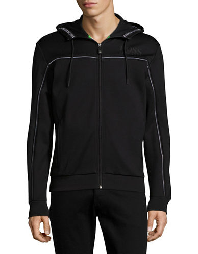 Boss Green Saggy Piped Full-Zip Hoodie-BLACK-X-Large 88952660_BLACK_X-Large