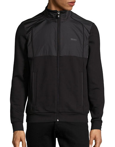Boss Green Regular Fit Mesh Combo Track Jacket-BLACK-Large 88823170_BLACK_Large