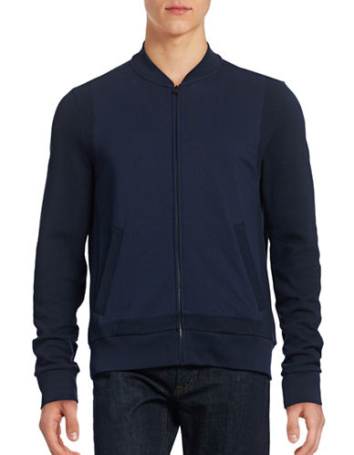 Hugo Contrast-Knit Baseball Jacket-NAVY-Small