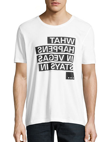 Hugo Mirrored Text Cotton T-Shirt-WHITE-X-Large