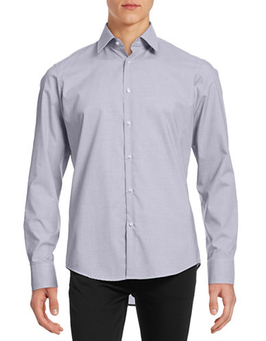 Hugo C-Enzo Micro-Grid Sport Shirt-NAVY-EU 42/US 16.5