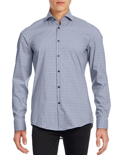 Hugo Slim-Fit Windowpane Plaid Shirt-NAVY-EU 41/US 16