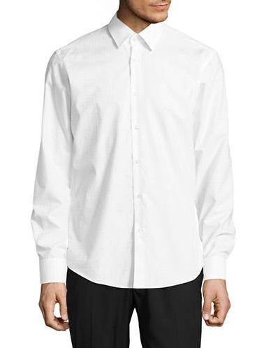Hugo Regular Fit Square Jacquard Sport Shirt-WHITE-EU 42/US 16.5