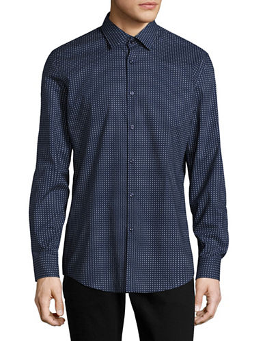 Hugo C-Jenno Slim-Fit Printed Sport Shirt-NAVY-EU 42/US 16.5