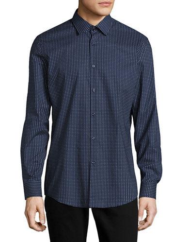 Hugo C-Jenno Slim-Fit Printed Sport Shirt-NAVY-EU 46/US 18