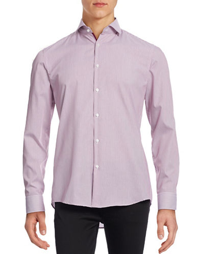 Hugo Tonal Stripe Shirt-MEDIUM PURPLE-EU 44/US 17.5