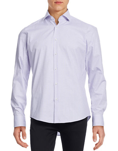 Hugo Gordon Check Sport Shirt-LIGHT PURPLE-EU 42/US 16.5