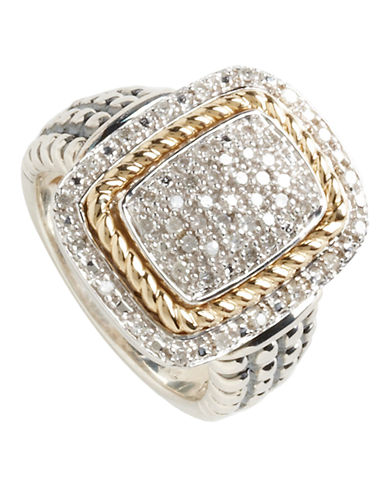 Fine Jewellery Sterling Silver 14K Yellow Gold Diamond Pave Ring-DIAMOND-7