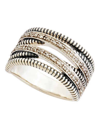 Fine Jewellery Sterling Silver Diamond Double Twisted Ring-STERLING SILVER/DIAMOND-7