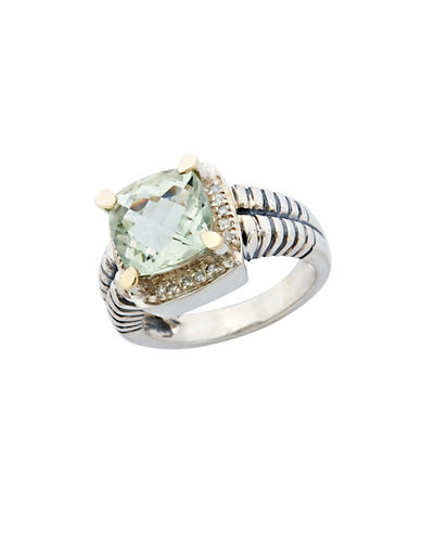 Fine Jewellery Sterling Silver  14K Yellow Gold  Diamond And Green Amethyst Ring-AMETHYST-7