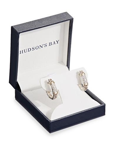 Fine Jewellery Crystal Floral Huggie Earrings-WHITE-One Size