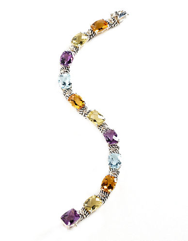 Fine Jewellery Sterling Silver 14K Yellow Gold Diamond And Multi-Coloured Gemstone Bracelet-MULTI COLOURED-One Size