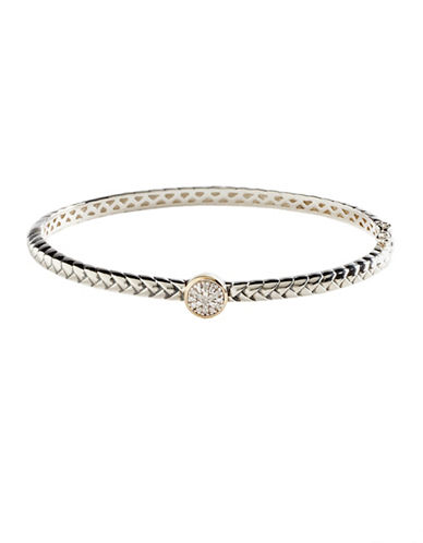 Fine Jewellery Sterling Silver band 14K Yellow Gold And 0.05ct Diamond Bangle-DIAMOND-One Size
