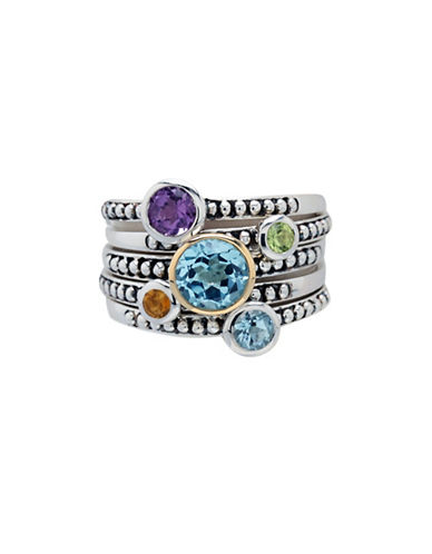 Fine Jewellery 14K Sterling Silver Stackable Multi Band Ring-MULTI COLOURED-7