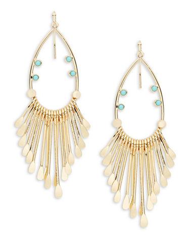 R.J. Graziano Goldtone Fringe Drop Earrings-BLUE-One Size