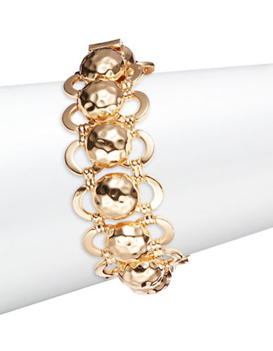 R.J. Graziano Goldtone Hammered Ball Link Bracelet-GOLD-One Size