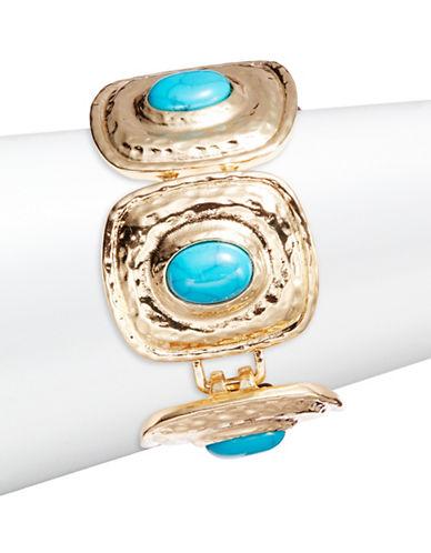 R.J. Graziano Goldtone Turquoise Stone Link Bracelet-BLUE-One Size