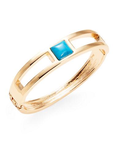 R.J. Graziano Goldtone Square Stone Bangle Bracelet-BLUE-One Size