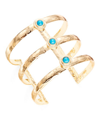 R.J. Graziano Goldtone Ladder Cuff Bracelet-BLUE-One Size