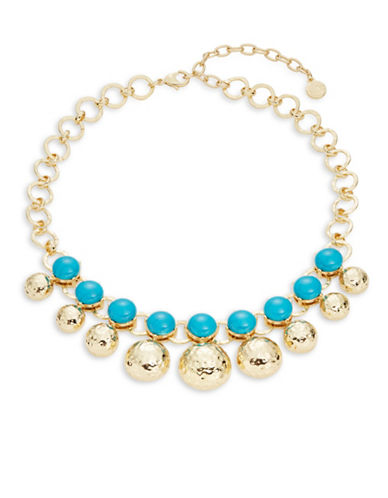 R.J. Graziano Hammered Goldtone and Stone Link Necklace-BLUE-One Size