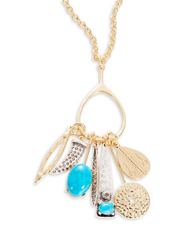R.J. Graziano Goldtone Multi-Charm Pendant Necklace-BLUE-One Size
