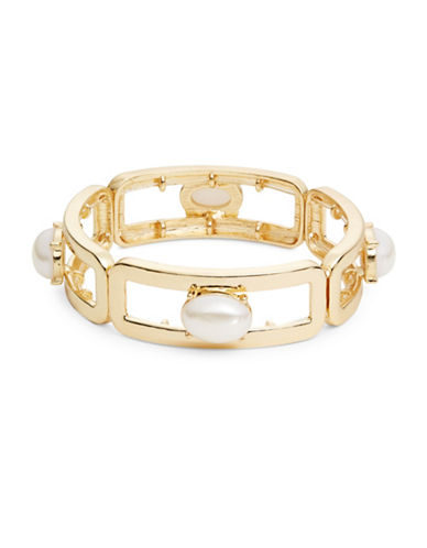 R.J. Graziano Faux Pearl-Accented Bracelet-GOLD-One Size
