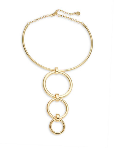 R.J. Graziano Circle Accented Collar Necklace-GOLD-One Size
