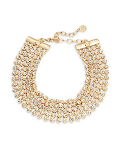 R.J. Graziano Five-Row Stone Accented Necklace-WHITE-One Size