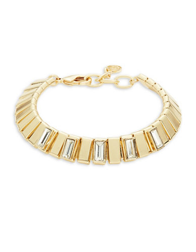 R.J. Graziano Textured Stone Accented Bracelet-GOLD-One Size