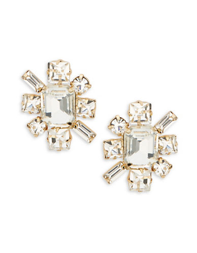 R.J. Graziano Faceted Crystal Starburst Stud Earrings-GOLD-One Size