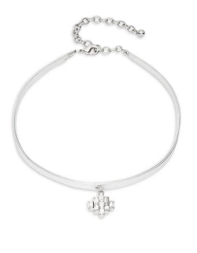 R.J. Graziano Baguette Pendant Choker Necklace-SILVER-One Size