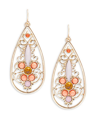 R.J. Graziano Stone Accented Open Teardrop Earrings-ASSORTED-One Size