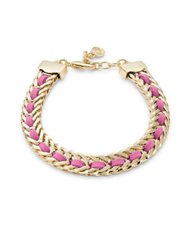 R.J. Graziano ?Leather Woven Braided Goldtone Bracelet-PINK-One Size