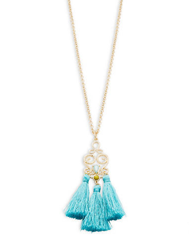 R.J. Graziano ?Long Goldtone Tassel Pendant Necklace-BLUE-One Size
