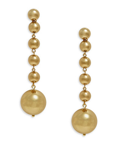R.J. Graziano Linear Ball Drop Earrings-GOLD-One Size