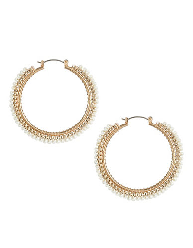 R.J. Graziano Beaded Hoop Earrings-GOLD-One Size