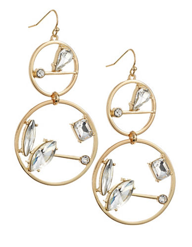 R.J. Graziano Double Circle Drop Stone Earrings-GOLD-One Size