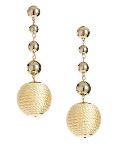 R.J. Graziano Linear Ball Wrap Bead Drop Earrings-NATURAL-One Size
