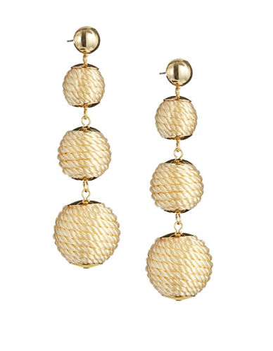 R.J. Graziano Triple Braided Bead Drop Earrings-GOLD-One Size